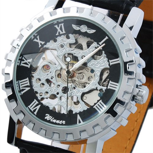 ESS Men's Black Dial Leather Luxury Stainless Steel Skeleton Hand-Wind Up Mechanical Watch WM219