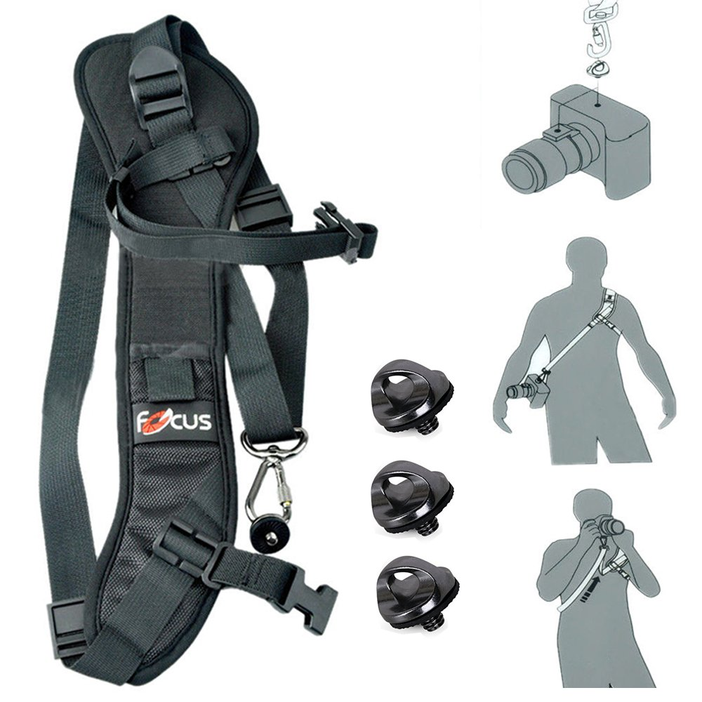 Gwalker Focus F-1 Quick Rapid Shoulder Sling Belt Neck Strap For Camera DSLR SLR Black