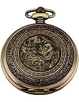 AMPM24 Bronze Mens Dragon & Phoenix Dangle Pendant Pocket Quartz Watch + Chain WPK062
