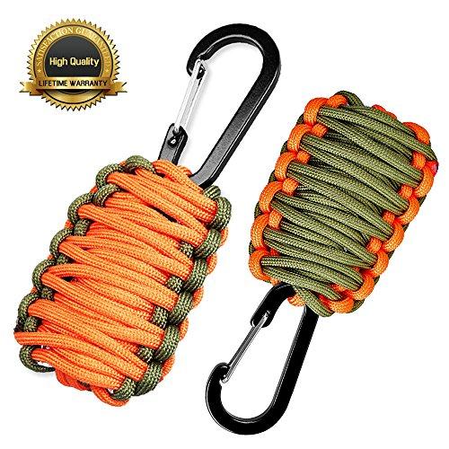 "Sahara Sailor Survival Bracelet Kit Carabiner ""Grenade"" Paracord Survival Kit with Flint Rod Weights Floats Fishing Line Hooks"