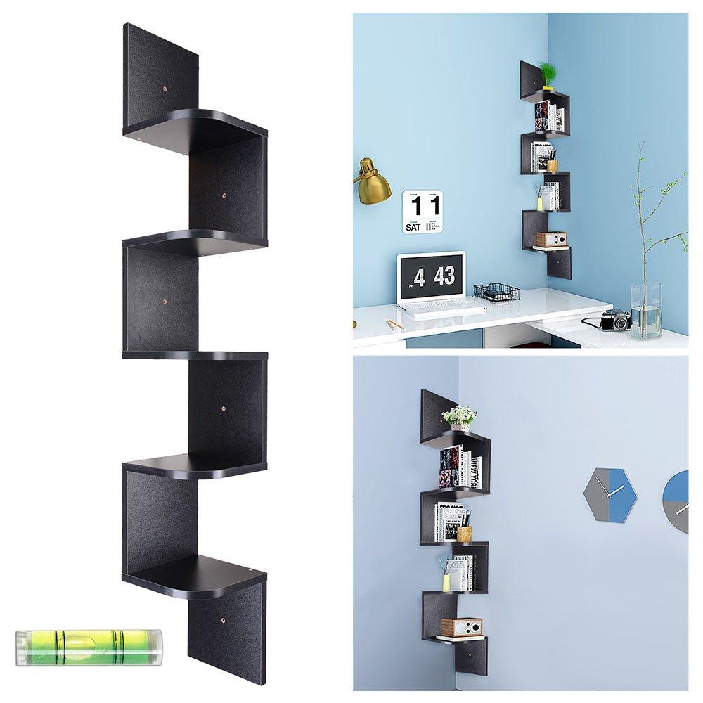 Yescom 5 Tiers Zig Zag Floating Wall Mount Corner Shelf Wooden Display Shelves Storage Organizer with Gradienter Black