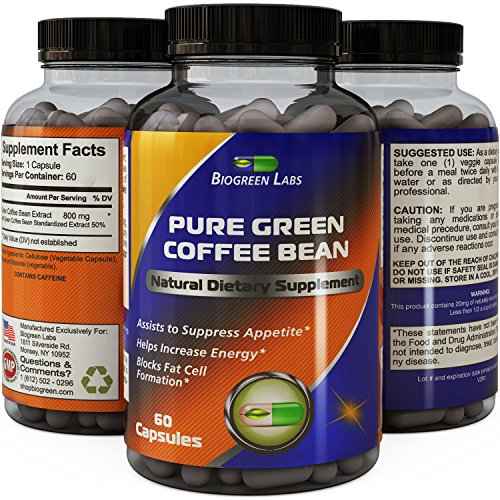 Best Pure Green Coffee Bean Extract ● Extra Strength Formula for Women & Men ● Highest Grade & Quality Supplement ● 800 Mg Weight Loss Dosage - Guaranteed By Biogreen Labs (Coffee Bean Extract Highest Grade compare prices)