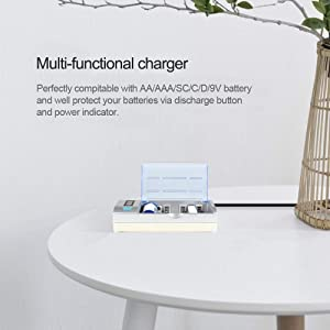 Wetoph Rechargeable Battery Charger WH06 Universal Battery Chargers for AA AAA SC C D Ni-MH/NI-CD and 9V Rechargeable Batteries with LCD Display and Charging Cable-White (Color: WHITE, Tamaño: WH06)