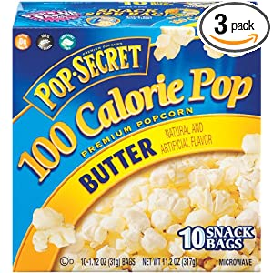 Pop Secret Snack Size 100 Calorie Butter, Microwavable Popcorn, 10-Count, 11.2-Ounce Box (Pack of 3)
