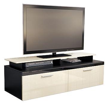 meuble tv bas bas atlanta en noir mat cr me laqu haute haute brillance avec plateau tv. Black Bedroom Furniture Sets. Home Design Ideas
