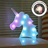 DELICORE Color Changeable Unicorn Marquee Signs Unicorn Party Supplies, Fantasy Themed Wall Decor Desk Table Lamp Gift for Child Kids Baby Girls Bedroom Birthday (Unicorn Head - Colorful) (Color: Unicorn Head - Colorful)