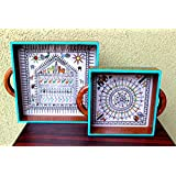 Advaita Handicrafts Wood Set Of 2 Serving Trays; 24.13 X 24.13 X 5.08 CM & 17.78 *17.78*5.08 CM