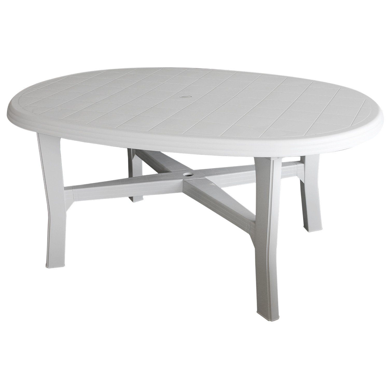 Gartentisch 165x110cm, oval, weiss - Vollkunststoff / Gartenmöbel Terrassenmöbel Campingmöbel Kunststofftisch Beistelltisch Terrassentisch Campingtisch