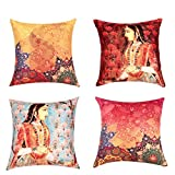 "Sej by Nisha Gupta HD Digital Print Silk 16"" By 16"" Cushion Cover Set of 4- Multicolor"