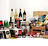 The Deluxe Cheltenham Hamper - Large Luxury Wicker Hamper Basket with 46 Gourmet Food Items, 4 Bottles of Fine Wines & Baileys Irish Cream by Fine Food Store Gift ideas for - Fathers Day, Mothers Day,Valentines,Presents,Birthday,Men,Him,Dad,Her,Mum,Thank