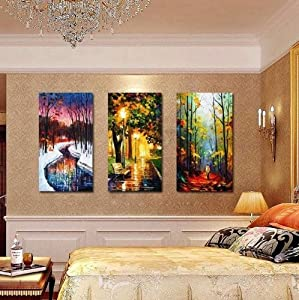100% Hand-painted Best-selling Quality Goods Free Shipping Wood Framed on the Back Three Unique Scenery High Q. Wall Decor Landscape Oil Painting on Canvas 4pcs/set Mixorde