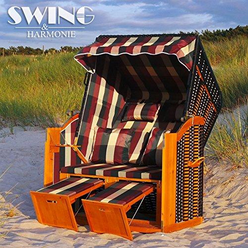Strandkorb XXL – Luxusstrandkorb – aus Holz und Polyrattan (Rot) günstig bestellen