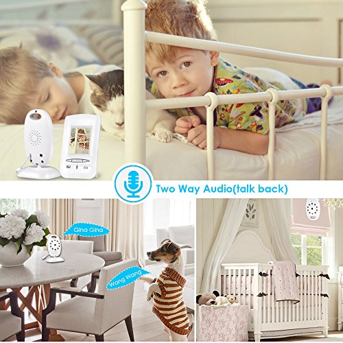 "Video Baby Monitor,GOODEE 2.0""Inch Color LCD Display Baby Monitors with Camera Night vision,Two-Way Radios Taking,Temperature Monitors,Lullaby Inclued-White"