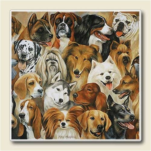 AbsorbaStone Coaster set~ Just Dogs ~4 Tile Drink Coasters ~ code 611C