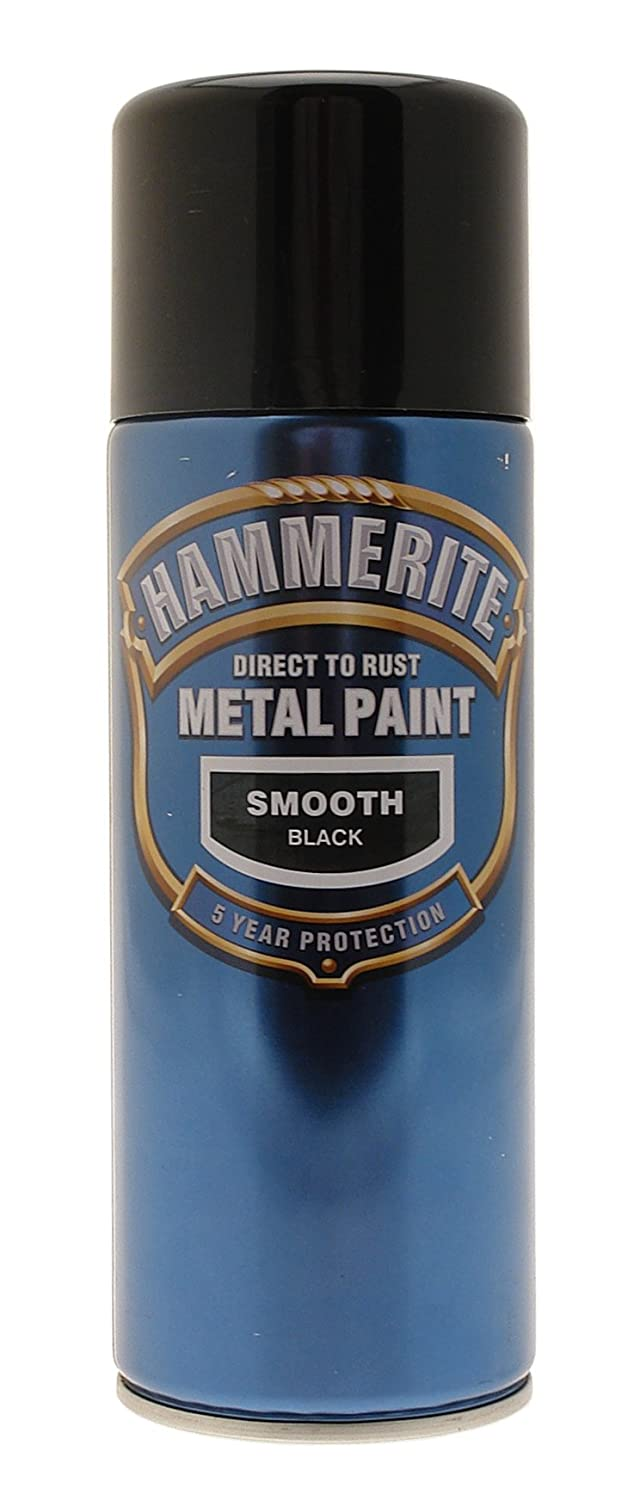 Hammerite paint smooth black aerosol 400ml ebay Black metal spray paint