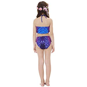 65fbd461fed09 5 Pcs Mermaid Tail Swimsuit Included Monofin and Flower Headband Wet Dry  for Kid