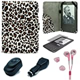 Leopard Pattern Design Protective Portfolio Nylon Carrying Case Cover for Amazon Kindle 3rd Generation Wireless Reading Device 3G Wi-Fi 6 inch LCD Display + Clear Screen Protector Guard for Kindle 3 Wifi + USB Travel Home Charger + USB Car Charger + Pink Hifi Noise Reducing Headphones / Earbuds