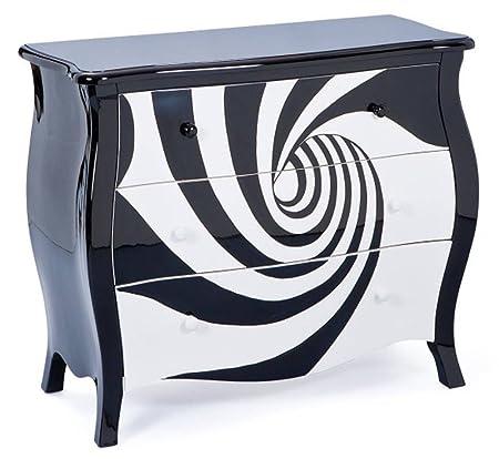 Commode avec 3 tiroirs coloris noir et blanc - Dim : L 94 x H 76.8 x P 43.2 cm -PEGANE-