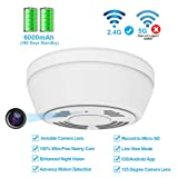 Hidden Camera Smoke Detector WiFi,FUVISION Motion Activated Nanny Camera with 180 Days Battery Power,Remote Internet Access,Night Vision,SD Card Slot,Bottom View Covert Camera Lens for Home Security