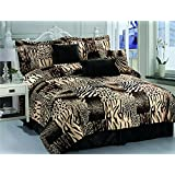 7 Pc Multi Animal Print Black, Brown, Tan and Charcoal Grey Microfur Comforter Set. Queen Size Comforter Set
