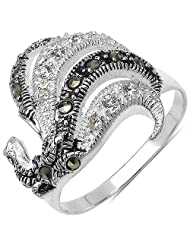 4.60 Grams Marcasite & White Cubic Zircon .925 Sterling Silver Ring