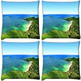 Snoogg Forest And The Sea Pack Of 4 Digitally Printed Cushion Cover Pillows 16 X 16 Inch