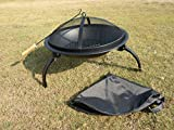 Durable 22-inch Portable Folding Fire Pit with Carrying Bag and Fire Poker