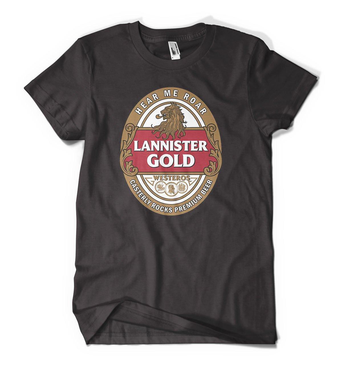 Game Of Thrones Lannister Gold Design Men's Sleeve Cotton Black T-Shirt