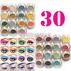 US Seller Brithday Gift Brand New 30 Pieces Cold Smoked Warmer Glitter Shimmer Pearl Loose Eyeshadow Pigments Mineral Eye Shadow Dust Powder Makeup Party Cosmetic Kit AC
