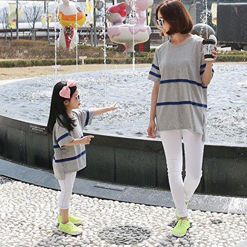 [ニューライフスカイ]子供服 親子ペア 子供の服 短袖 グレー lbertz0028 (ママ:S)