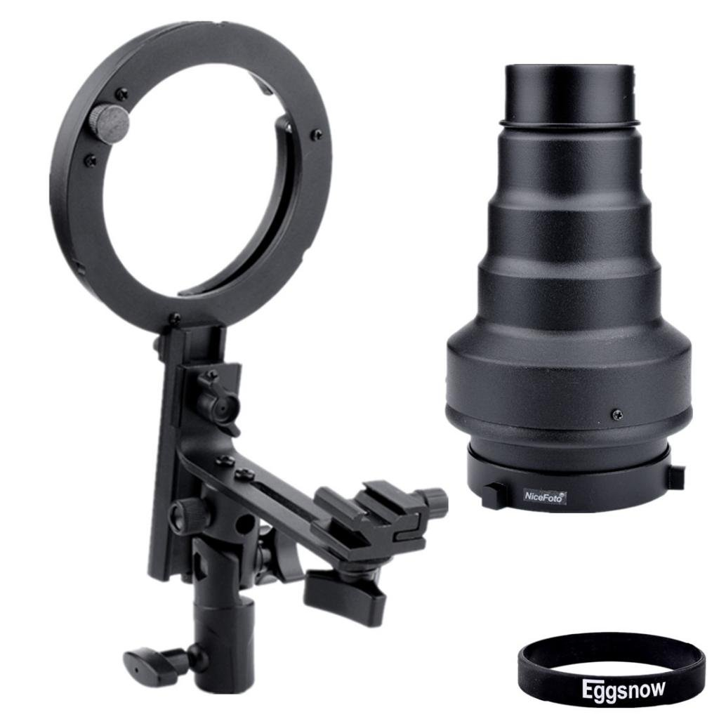Eggsnow Flash Bracket Speedlite Mount + 120x200 Conical Snoot for Bowens Studio Flash Accessories (Canon Nikon Flash Units)       Customer reviews and more information