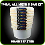 BUBBLEBAGDUDE All Mesh 20 Gallon 8 Bag Herbal Hash Ice Extractor Kit - Comes with Pressing Screen and Storage Bag from Bubblebagdude