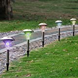 SolarEK Solar LED Garden Path Stake Lights, Color Changing, Landscape Outdoor Patio Lights, Stainless Steel (Set of 12)