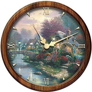 Thomas Kinkade Lamplight Bridge Wall Clock by The Bradford Exchange