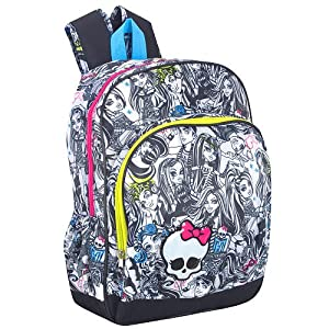 Monster High 16 Inch Party Monsters Backpack - Black and White