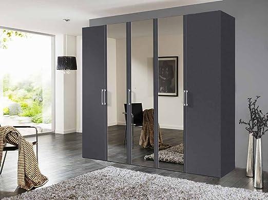 5-trg. Drehturenschrank in Graphit mit 3 Spiegelturen, 3 Einlegeböden und 3 Kleiderstangen, Maße: B/H/T ca. 250/236/58 cm