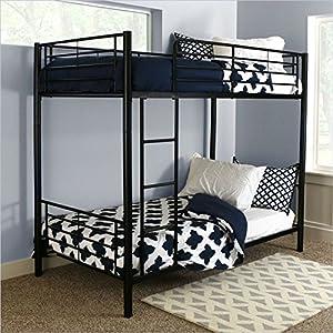 Walker Edison Twin-Over-Twin Bunk Bed, Black by Walker Edison