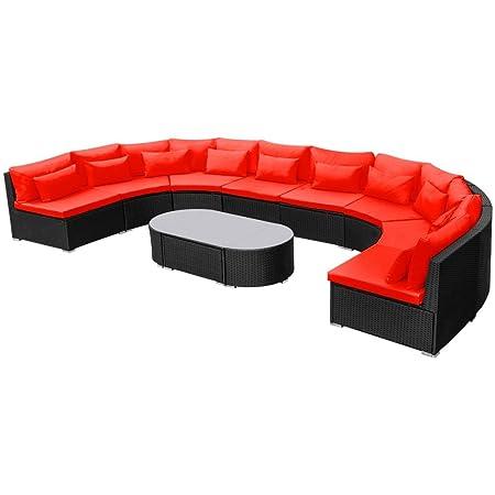 vidaXL ratán Muebles de Jardín Asiento Grupo Muebles de Sofá Lounge Herramientas de jardín (, rojo