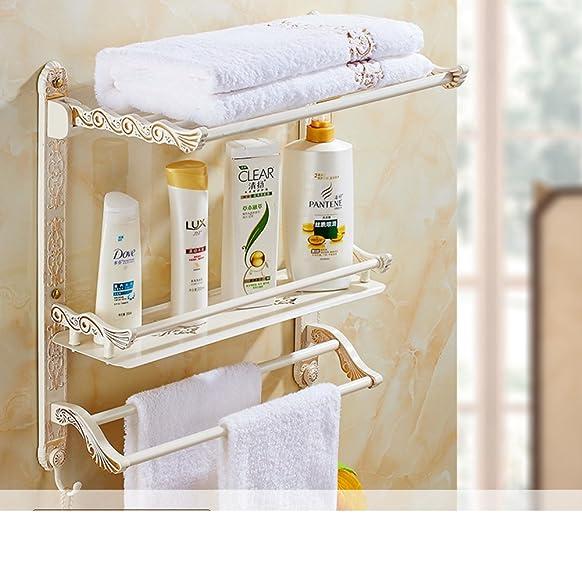 Stile europeo verniciato pieghevoli portasciugamani/ Golden e mensole bianco/ retro stanza da bagno portasciugamani-D