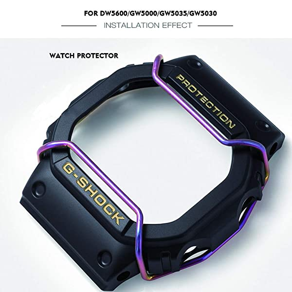 Supachis Watch Screen Protectors, Wire Watch Guard Protector Compatible with Casio Watch Case DW-5600 / DW5000 / DW5030 / DW5025 100% Metal Stainless Steel Bull Bar, Colorful (Color: Rainbow color)