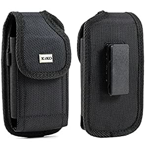 XXL SIZE Samsung Galaxy S6 Active Premium Vertical Nylon Case Pouch Holster with VELCROC losure with Swivel Belt Clip for Samsung Galaxy S6 Active WITH OTTER BOX Defender / LIFEPROOF / Mophie Juice Pack Air/Plus Case On