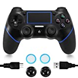 PS4 Controller, Wireless PS4 Controller Bluetooth Gamepad Touch Panel Joypad Dual Vibration Six Axies DualShock 4 PS4 2 Pair Thumb Grips (Color: PS4)