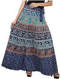 Jaipur Skirt Women's Cotton Regular Fit Wrap Skirt (Blue) - B01GE5RO3A