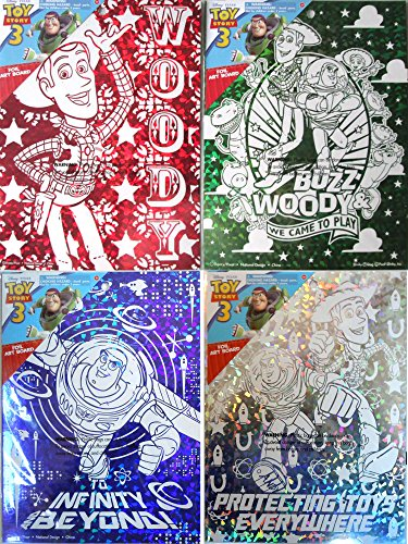 "Disney Pixar TOY STORY Foil Wall Decoration Art Boards (7 1/2"" X 10"") All 4 Collectible Boards - 1"