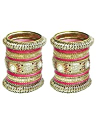 Two Sets Of Golden With Red Glitter Bangles - Metal