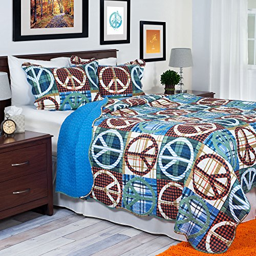 Lavish Home 3-Piece Peace Quilt Set, Full/Queen, Brown/Blue front-313568