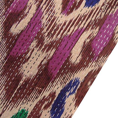 abstracta patrón de tejido de algodón gudri nueva puntada kantha cama púrpura extendió 108