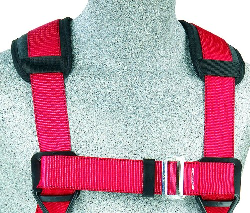 Protecta PRO, 1191209 Construction Harness, Back And Side D-Rings, Hip Pad And Belt, Pass Thru Legs, 420-Pound Capacity, Med/Large, Red/Gray