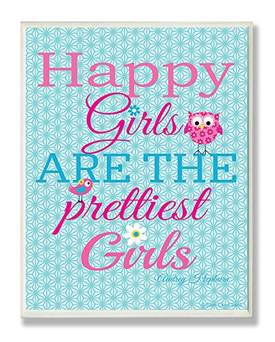 The Kids Room by Stupell Happy Girls are the Prettiest Girls with Owl and Bird Rectangle Wall Plaque