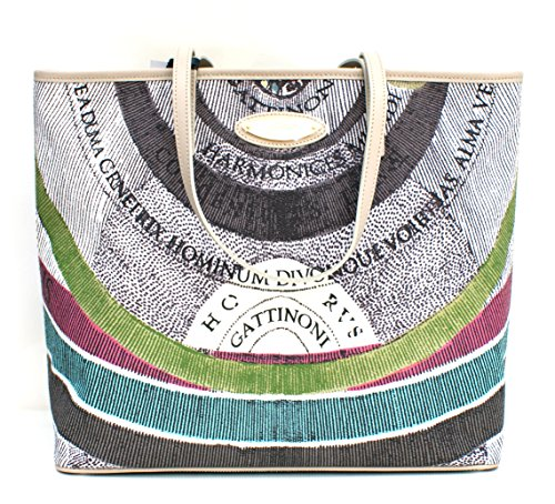 Gattinoni Borsa Donna Shopper Horizontal Vertical Zip Cm 33x31x14 Beige / Multicolor